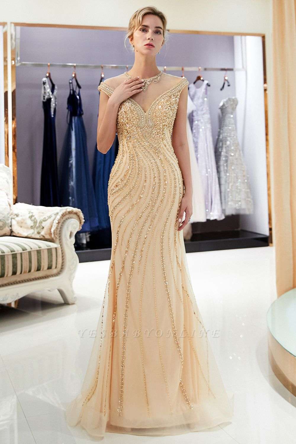 Glamorous Mermaid Off-the-Shoulder Prom Dress | 2019 Long Prom Dress with Crystals