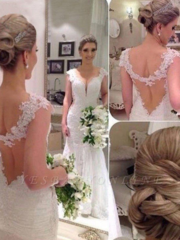 Lace Tulle Sexy Mermaid V-neck Wedding Dresses | Sweep Train Sleeveless Applique Bridal Gowns