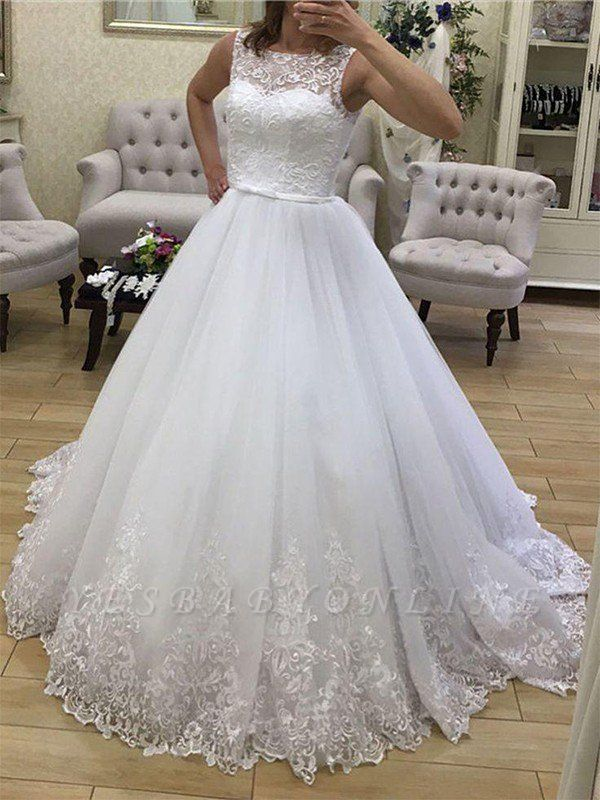 Gorgeous Court Train Scoop Tulle Sleeveless Puffy Applique Wedding Dresses