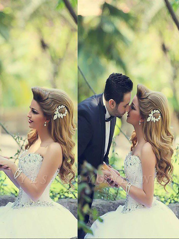 Court Train Beaded Tulle Puffy Sweetheart Stunning Wedding Dresses
