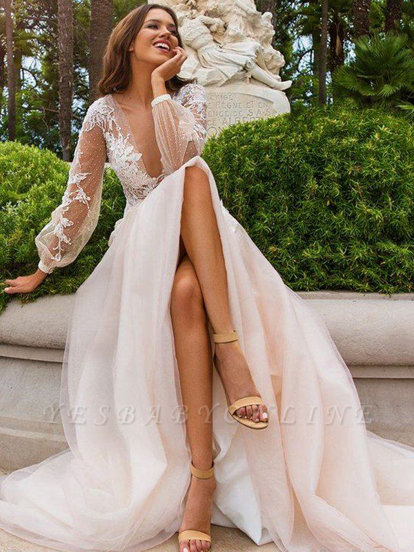 Alluring Sweep Train Long Sleeves V-neck Tulle Applique Wedding Dresses