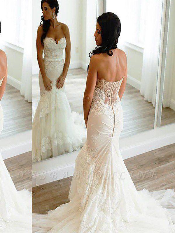 Court Train Sleeveless Lace Tulle Sweetheart  Sexy Mermaid Wedding Dresses