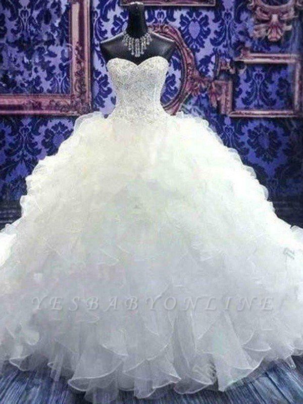Sleek Chapel Train Beaded Sequin Puffy Sweetheart Sleeveless Organza Wedding Dresses