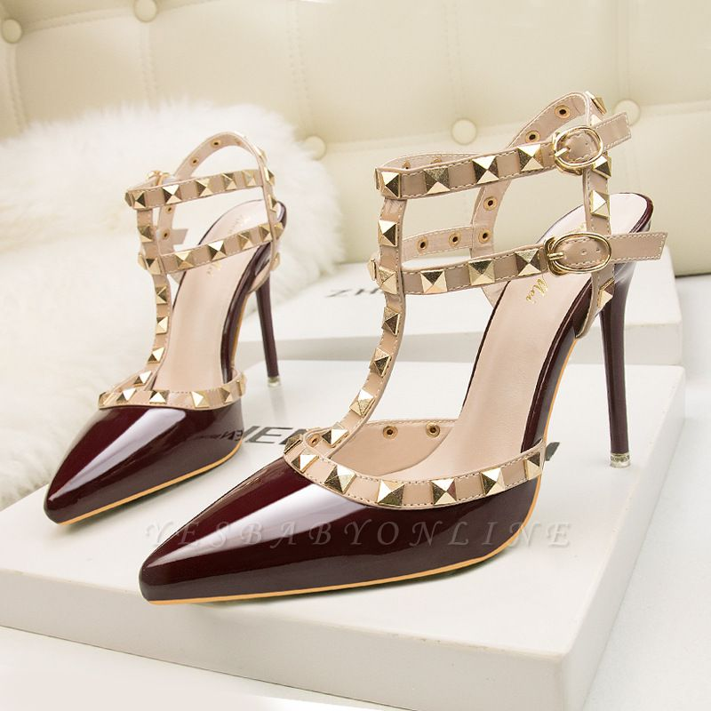 Fashion Pionted Toe High Heel Buckle Hollowout Wedding Shoes with Rivets