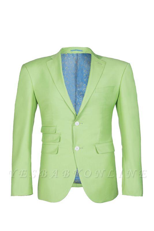 High Quality Sage Two Button Peak Lapel Latest Design Wedding Suit