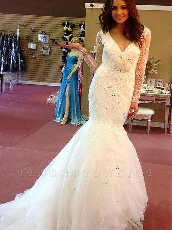 Dramatic Long Sleeves V-neck Sexy Mermaid Beaded Tulle Wedding Dresses