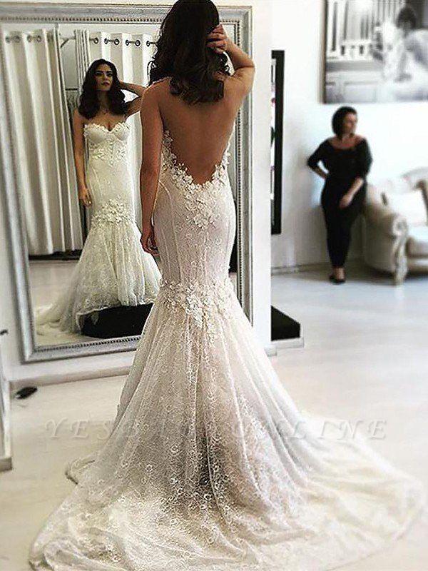 Lace Sweetheart Sweep Train Sleeveless Sexy Mermaid Wedding Dresses