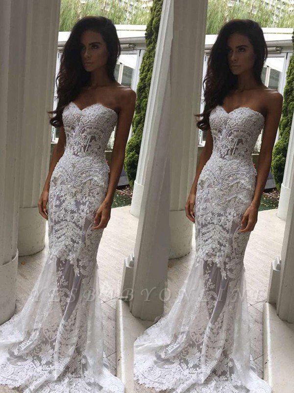 Sweetheart Sexy Mermaid Applique Wedding Dresses | Sleeveless Lace Court Train Bridal Gowns