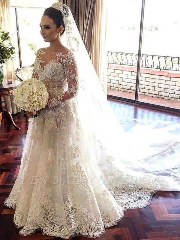 Shabby Chic Bateau Tulle Lace Long Sleeves Chapel Train Wedding Dresses
