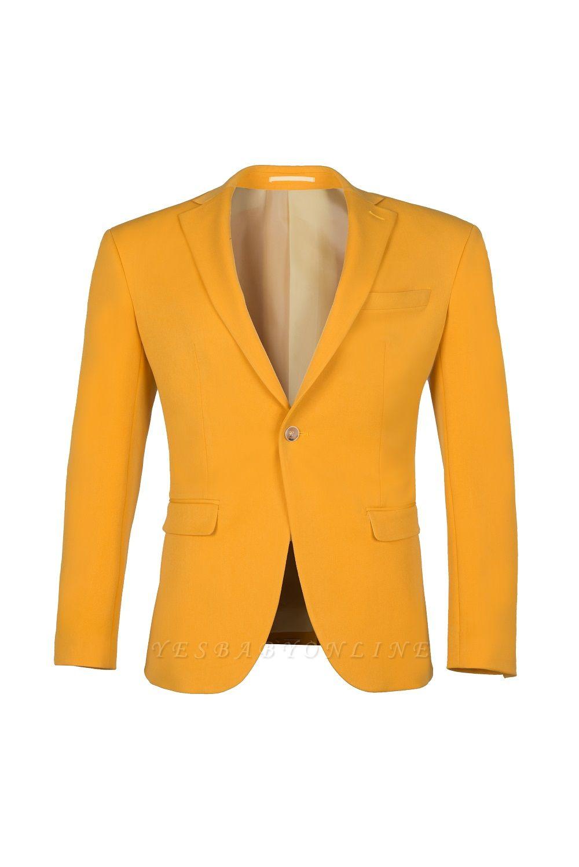 Custom Made Slim Fit Orange Peak Lapel One Button Casual Suit Groomsmen