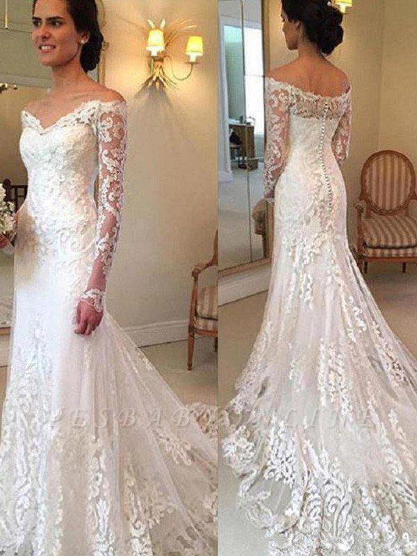 Court Train Applique Lace Sexy Mermaid Wedding Dresses | Gorgeous Long Sleeves Off-the-Shoulder Bridal Gowns