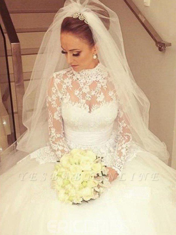 Glamorous High Neck Lace Long Sleeves Wedding Dresses | Cathedral Train Ribbon Puffy Bridal Gowns