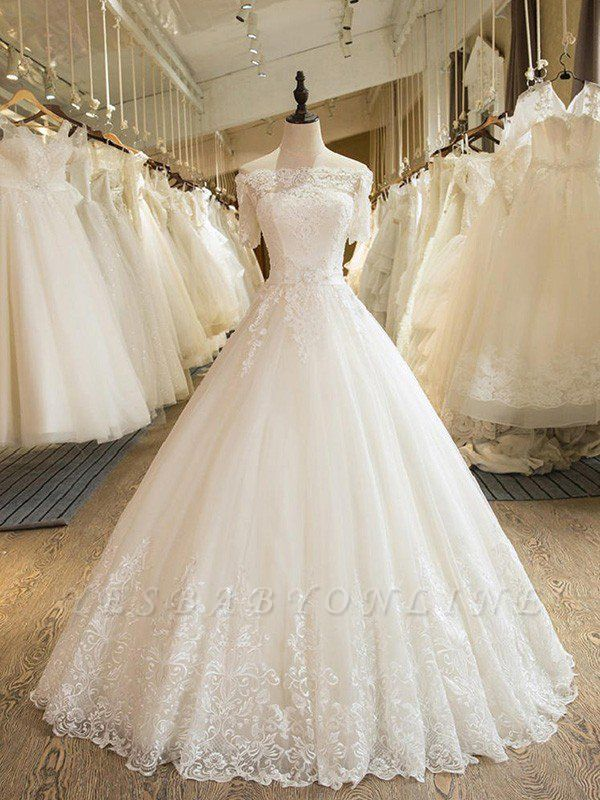 Glamorous Floor-Length Tulle 1/2 Sleeves  Applique Puffy Off-the-Shoulder Lace Wedding Dresses