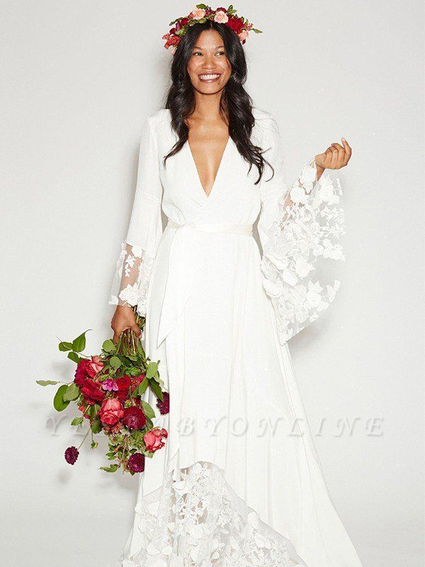 Alluring Floor-Length V-neck Chiffon Long Sleeves Lace Ribbon Wedding Dresses
