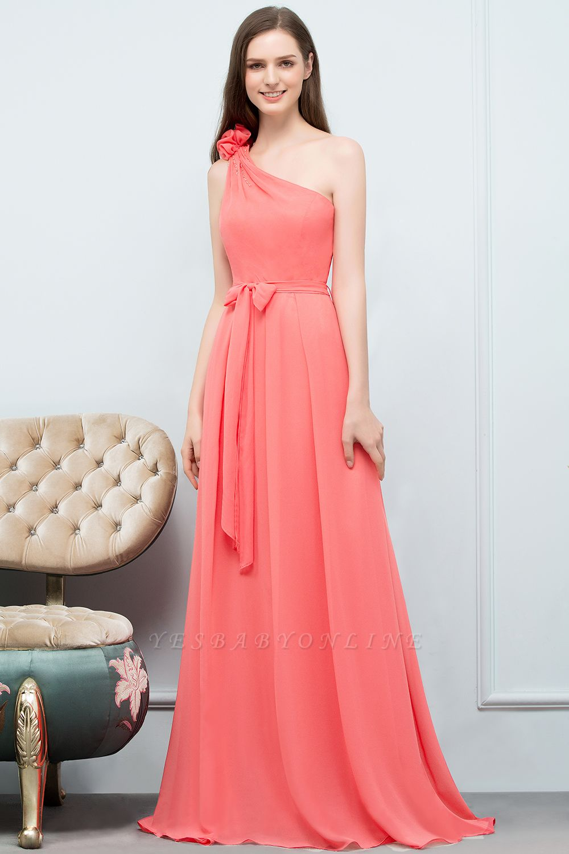 A-line  One-Shoulder Sleeveless Floor-Length Bridesmaid Dress with Bow Sash