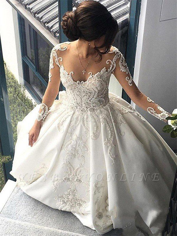 Long Sleeves Satin Puffy Scoop Cathedral Train Applique Wedding Dresses