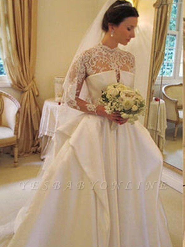 Puffy Long Sleeves High Neck Chapel Train Satin Lace Wedding Dresses
