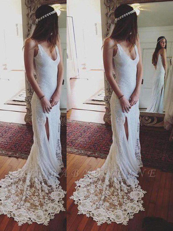 Sleek Straps Column Court Train Lace Sleeveless Wedding Dresses