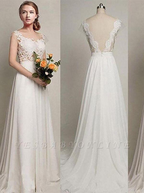 Charming Scoop Sweep Train Sleeveless Chiffon Wedding Dresses