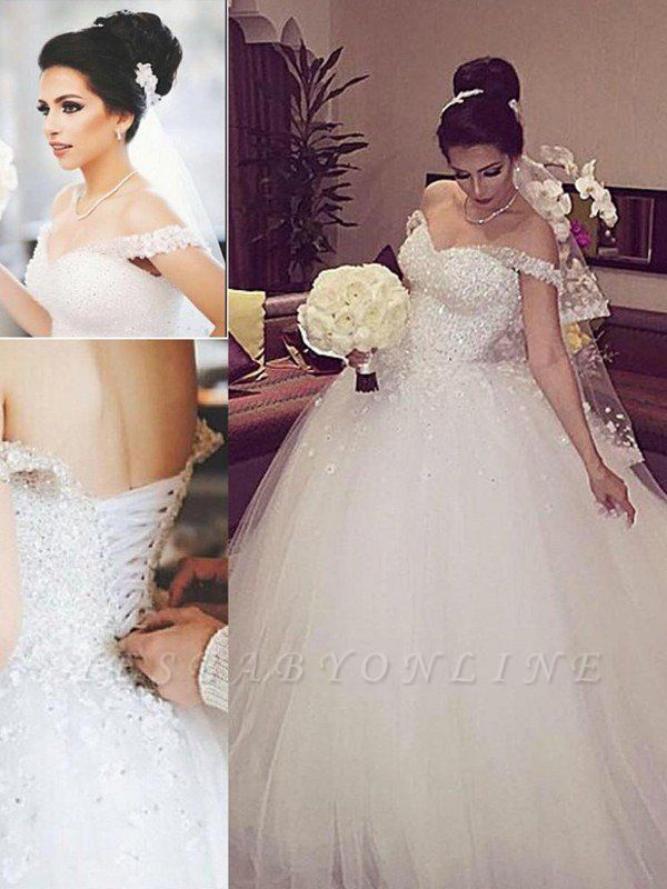 Sleeveless Puffy Lace Wedding Dresses   Court Train Tulle Off-the-Shoulder Bridal Gowns