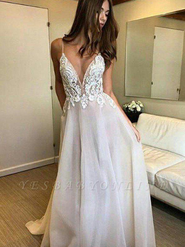 Glamorous Sweep Train Spaghetti Straps  Sleeveless V-neck Lace Tulle Wedding Dresses