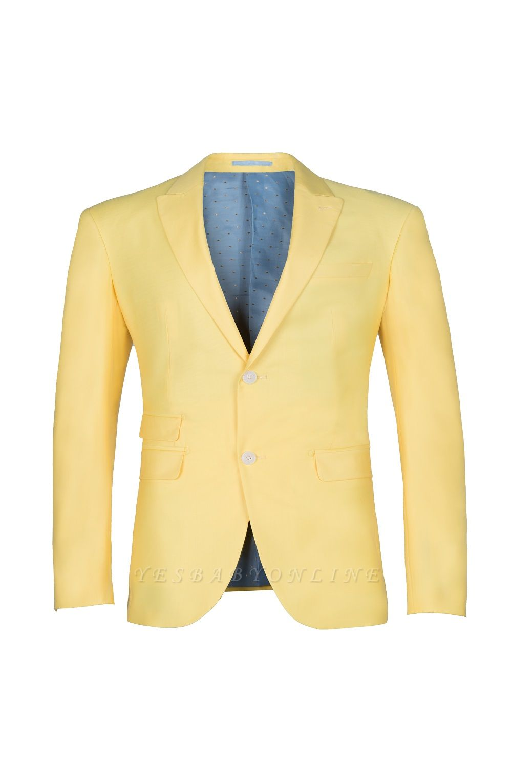 Noched Lapel Two Button Single Breasted Daffodil Wedding Suit Slim Fit