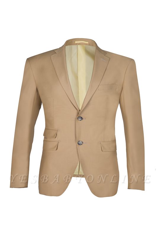 High Quality Two Button Nude Color Back Vent Peak Lapel Bridegroom