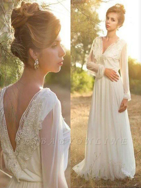 Sweep Train Chiffon Long Sleeves V-neck Lace Wedding Dresses