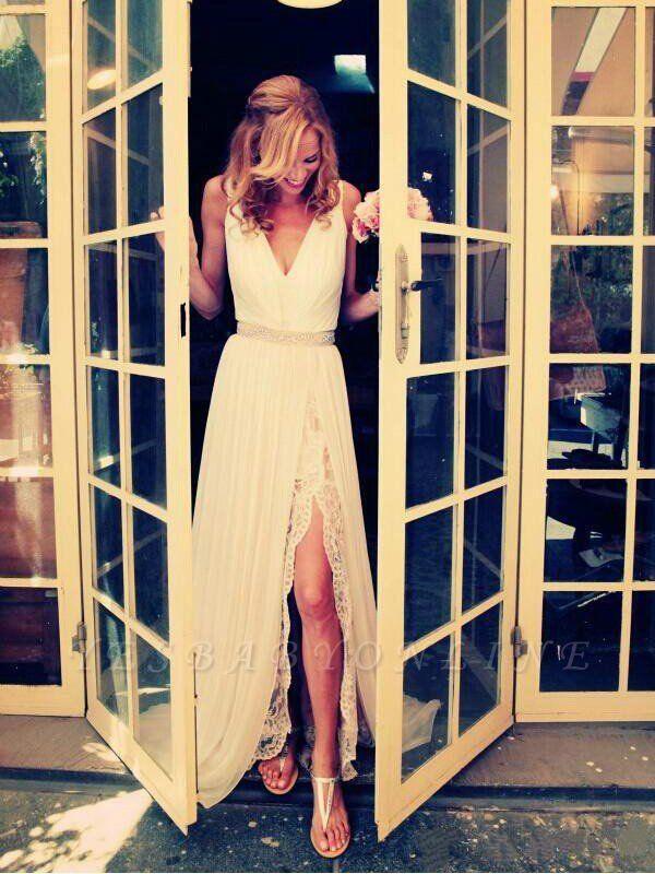 Sleeveless V-neck Sweep Train Chiffon Beaded Wedding Dresses