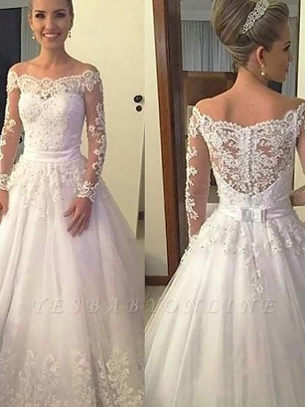 Court Train Puffy Applique Tulle Wedding Dresses | Long Sleeves Off-the-Shoulder Bridal Gowns