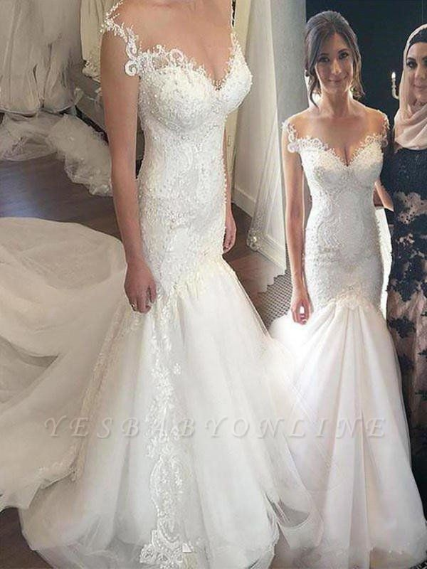 Chapel Train Applique Sexy Mermaid Wedding Dresses | Off-the-Shoulder Sleeveless Tulle Bridal Gowns