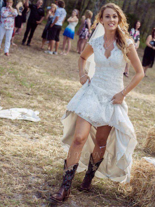 Applique Lace V-neck Wedding Dresses | Column Short Sleeves Court Train Bridal Gowns