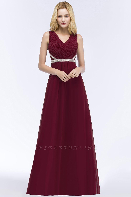 A-line  V-neck Long-Sleeveless Ruffled Floor-Length Bridesmaid Dresses with Beading Sash