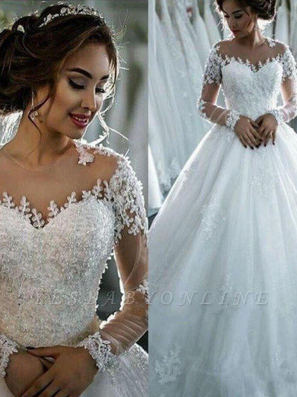 Glamorous Scoop Applique Long Sleeves Puffy Chapel Train Tulle Wedding Dresses