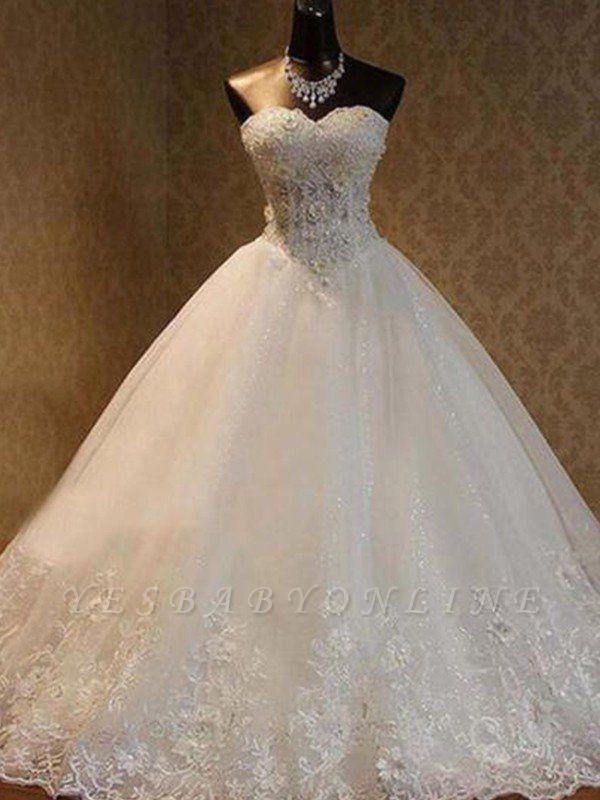 Floor-Length Sweetheart Beads Sleeveless Tulle Puffy Wedding Dresses