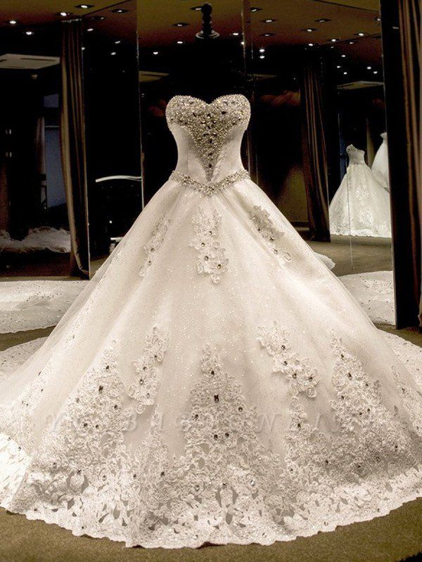 Sleeveless Sweetheart Puffy Cathedral Train Tulle Applique Sequin Wedding Dresses
