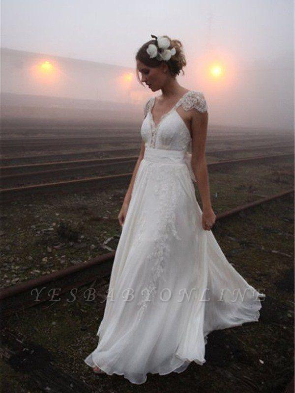 V-neck Floor-Length Sleeveless Lace Chiffon  Wedding Dresses