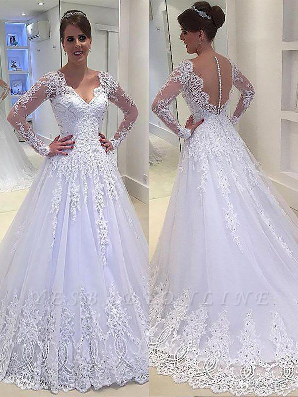 Tulle V-neck Court Train Long Sleeves Applique Wedding Dresses