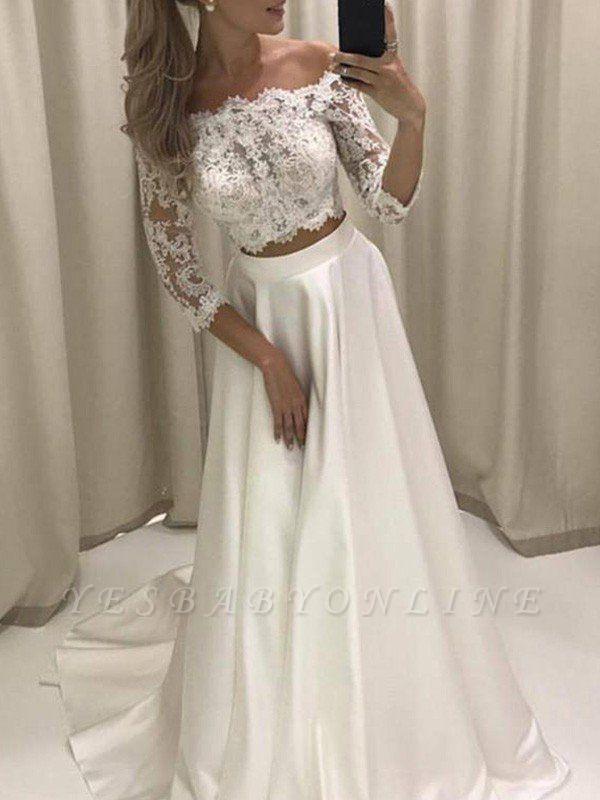 Glamorous Off-the-Shoulder Satin 3/4 Sleeves Court Train Applique Wedding Dresses