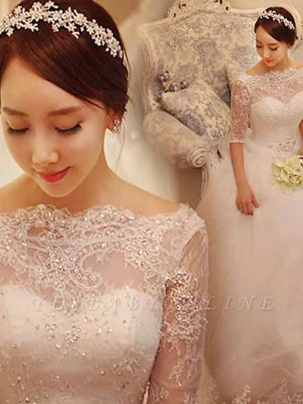Off-the-Shoulder 1/2 Sleeves Chapel Train Tulle Puffy Beaded Wedding Dresses