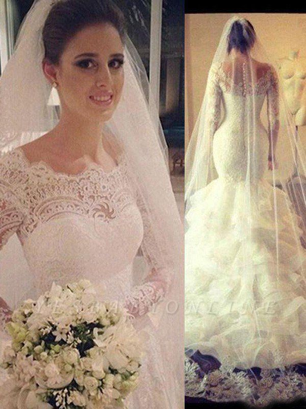Scoop Court Train Tulle Long Sleeves Sexy Mermaid Lace Wedding Dresses