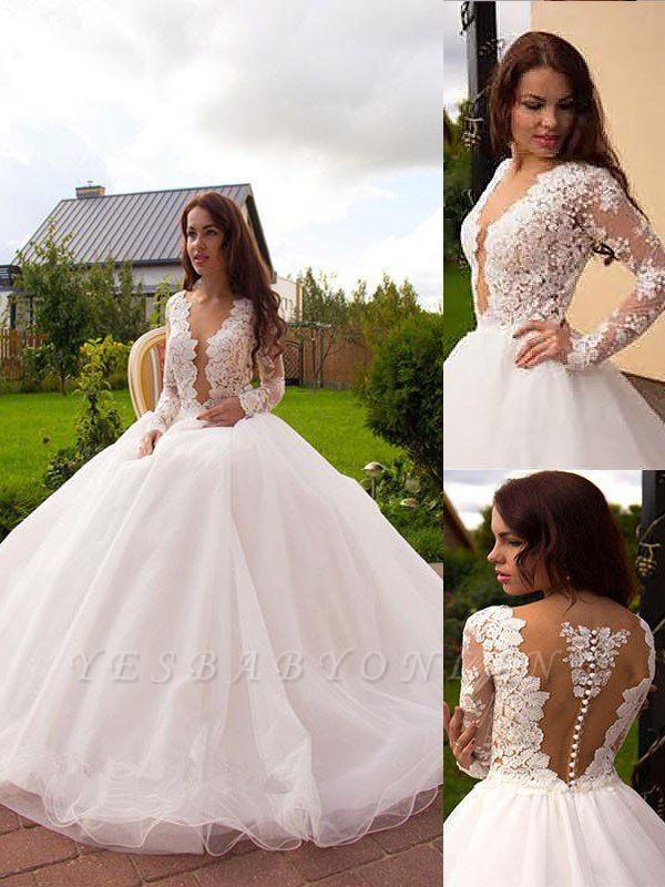 Irresistible Tulle Court Train Puffy Long Sleeves V-neck Wedding Dresses