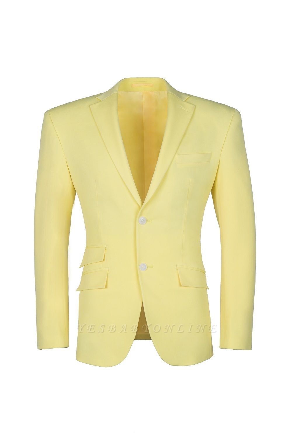 High Quality Peak Lapel Groomsmen Slim Fit Daffodil Single Breasted