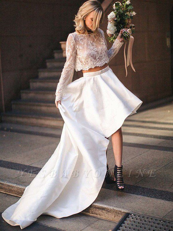 Scoop Sweep Train Two Piece Satin Long Sleeves Lace Wedding Dresses