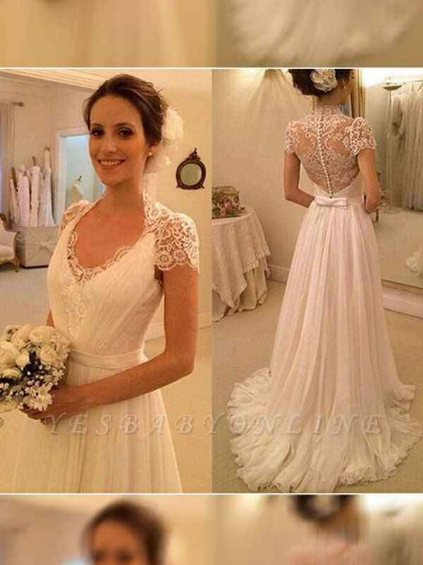 Sleeveless Sexy Lace Wedding Dresses | V-neck Chiffon Sweep Train Bridal Gowns