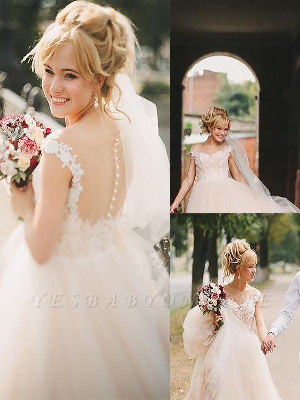 Romantic Court Train Sleeveless Tulle Scoop Wedding Dresses