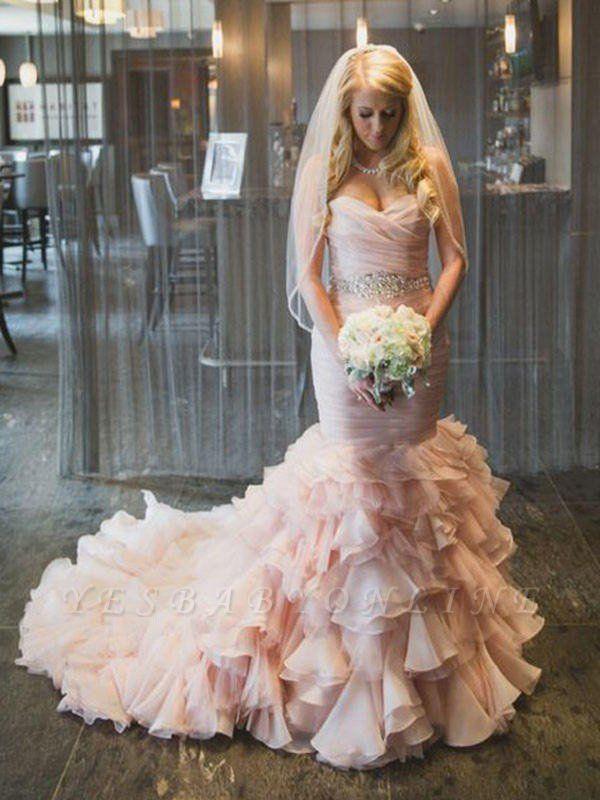 Court Train Organza Sexy Mermaid Wedding Dresses | Sweetheart Sleeveless Ruffles Bridal Gowns