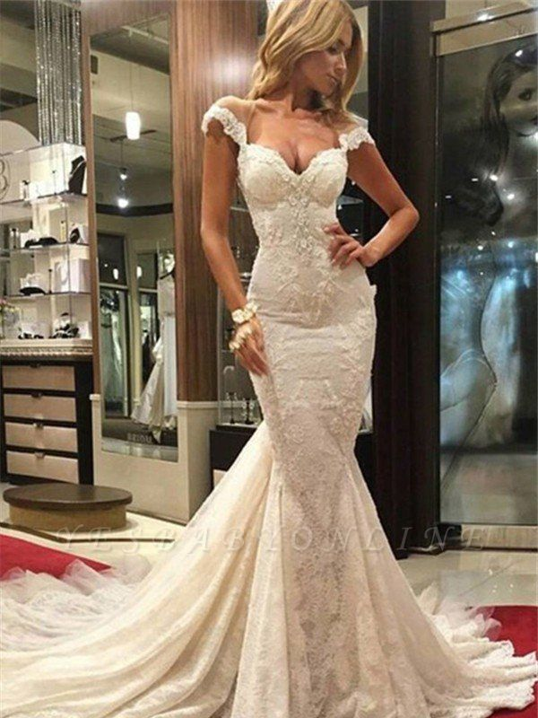 Sleeveless Sweep Train Lace Sexy Mermaid V-neck Wedding Dresses
