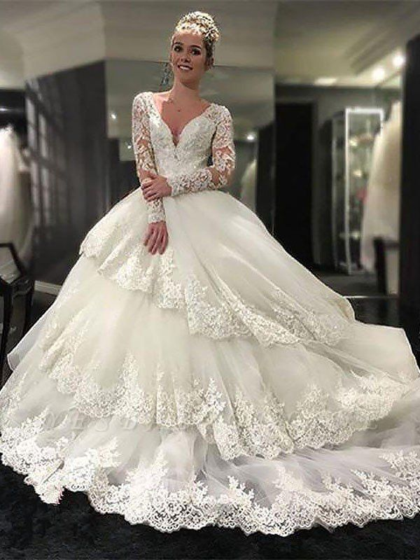 Lace Tulle Court Train Long Sleeves V-neck Puffy Wedding Dresses