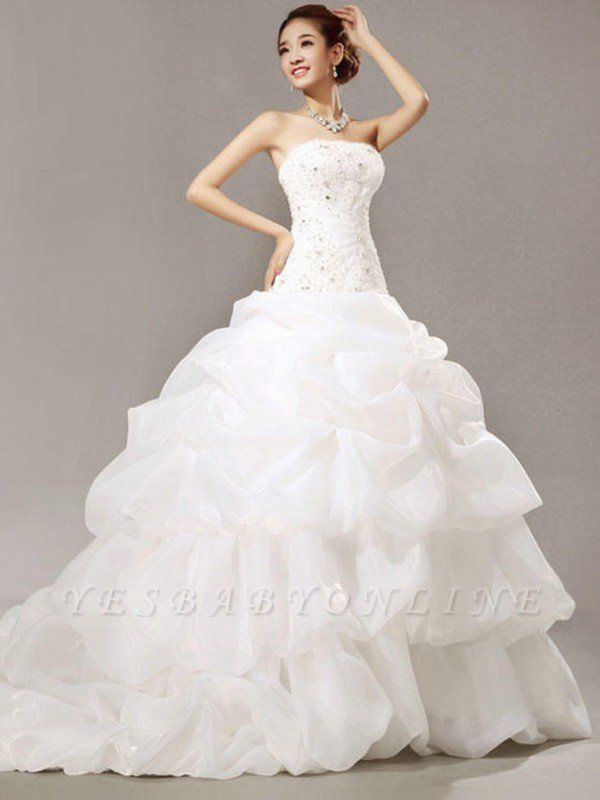 Glamorous Cathedral Train Beaded Puffy Strapless Organza Lace Pleats Sleeveless Wedding Dresses